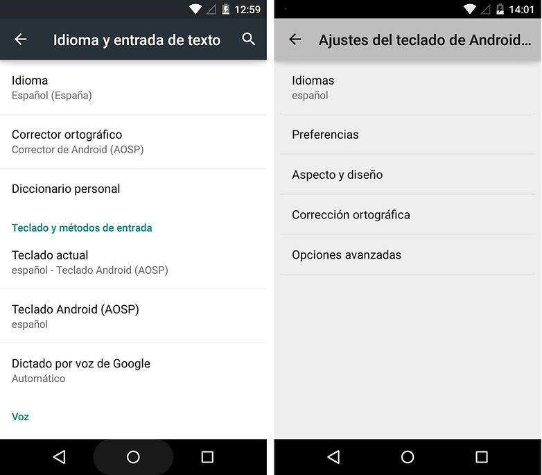 Corrector ortográfico Android